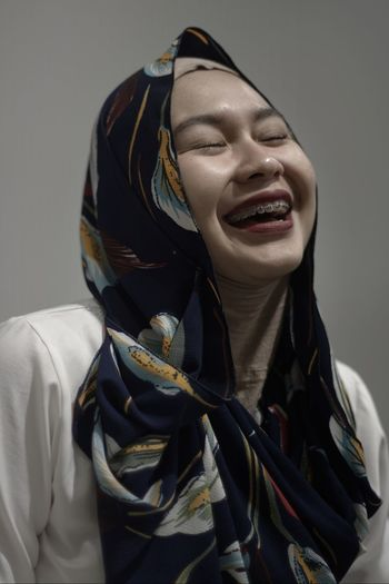 Bandung Shooter Indonesian Shooter Close-up Day Gray Background Headshot Hijab Indoors  Jacket Lifestyles Muslim Women One Person People Real People Young Adult The Week On EyeEm Second Acts
