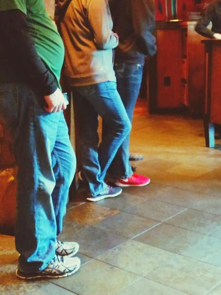 Q all Queued up at a Restaurant that Serves Mouthwatering Steaks ! Dinner Dining Out Eating Out Bluejeans Sneekers Tennis Shoes Standing In Line Family Freinds Waiting In Line Interior Views Theellijays Nom Nom Nom