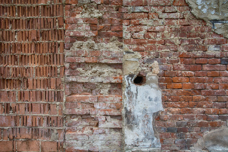 Built Structure Brick Brick Wall Architecture Wall Wall - Building Feature No People Old Textured  Building Exterior Full Frame Day Pattern Weathered Backgrounds Outdoors Damaged Close-up Rough Hole Deterioration