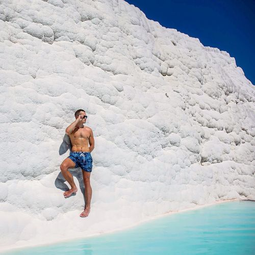 Denizli Pamukkale Leisure Activity Lifestyles Water Nature Real People Day Men Beauty In Nature People Front View Young Men Sunlight Full Length Holiday Trip Outdoors Vacations Enjoyment Sea Land