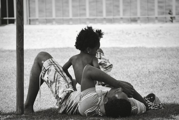 Dad And Daughter Daddy Daddy's Girl Daddyslittlegirl Family People Real People Sitting Relaxation Outdoors Grass Afro Curly Hair Sleep Sleeping Together Blackandwhite Authentic Moments Enjoy The New Normal The Street Photographer - 2017 EyeEm Awards This Is Family