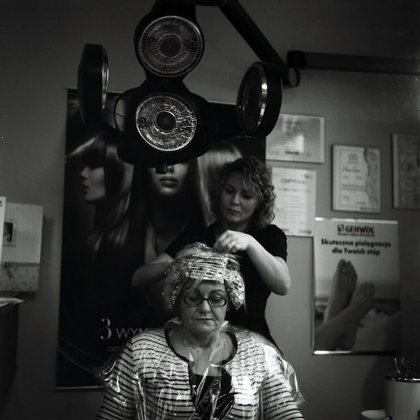 At Work Barbershop Warsaw Blackandwhite Client Film Photography Filmisnotdead Front View Hair Dryer Haircut Haircut Time Hairdresser Hairdressing Hairdressing Salon Hairstyle Hand Indoors  Portrait Stylist Women Black And White Friday 6x6