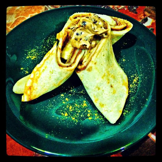 Crepe with Chocolate & Cookies spread, banana and Cumin spice