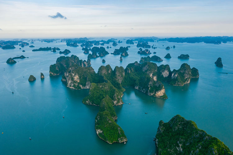 Ha Long Bay Nature Beauty In Nature Tranquil Scene High Angle View Stack Rock Blue Sea Rock Water Tranquility Idyllic No People Day Land Island Cloud - Sky Sky Scenics - Nature