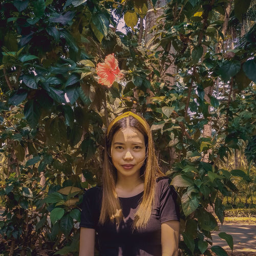 Philippines Mobilephotography Zamboanga City Nature Rural Rural Scene Fashion Portrait Portrait Of A Woman Filipino Asian  Tree Young Women Beauty Beautiful Woman Portrait Flower Front View Close-up Leaves Red Lipstick Lipstick Flower Head Human Lips The Portraitist - 2018 EyeEm Awards The Fashion Photographer - 2018 EyeEm Awards International Women's Day 2019