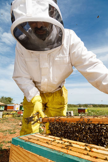 Low angle view of man working at farm against sky
