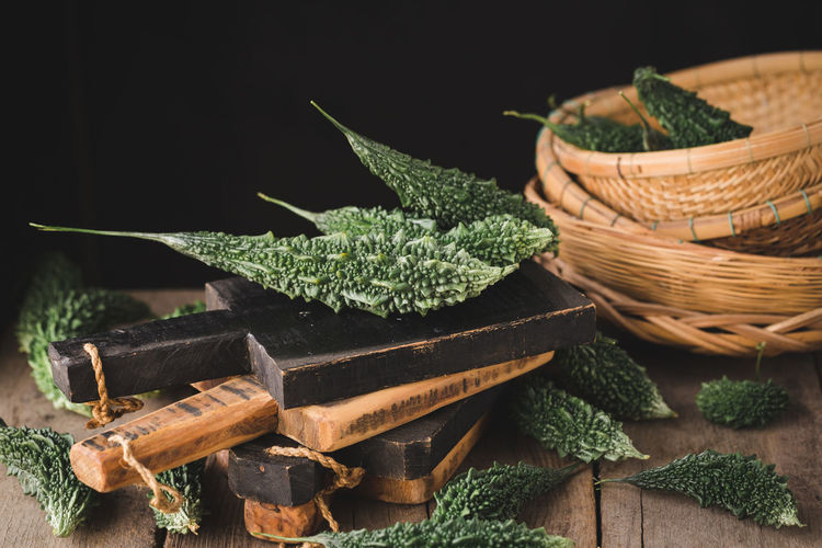 Close-up of leaves in basket on table