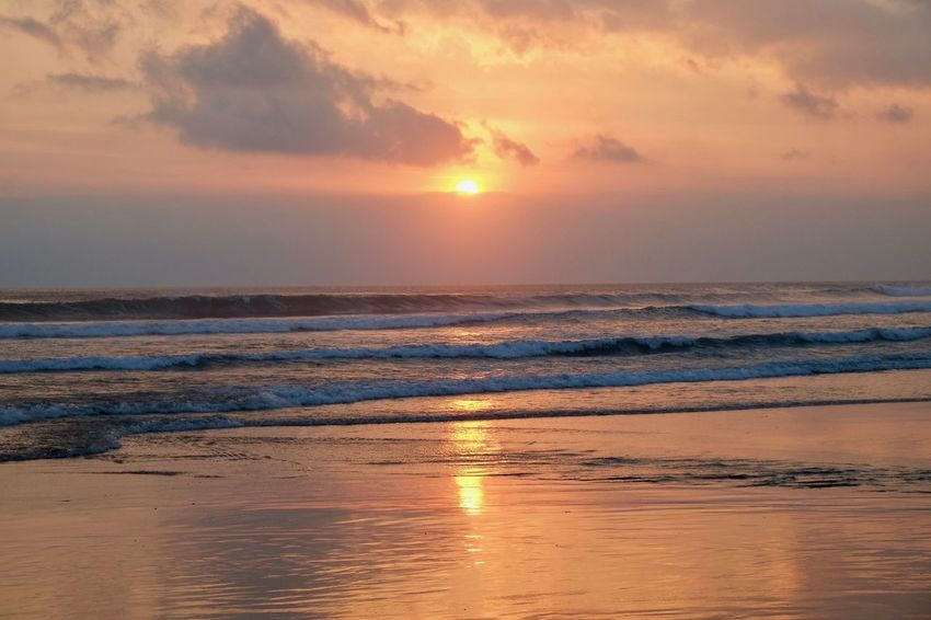 Beach Beauty In Nature Cloud - Sky Horizon Horizon Over Water Idyllic Nature No People Orange Color Outdoors Reflection Romantic Sky Scenics - Nature Sea Sky Sun Sunset Tranquil Scene Tranquility Water Wave