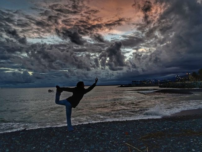 Relaxing Relax Yoga Yoga In Nature Water Sea Beach Full Length Sport Sunset Sand Sky Lightning Storm Cloud Dramatic Sky Storm