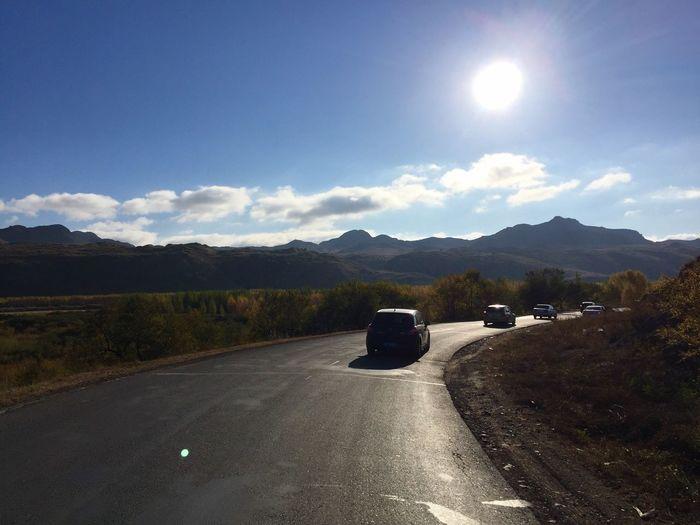 在路上,自拍杆天窗拍摄 Road Car Sun