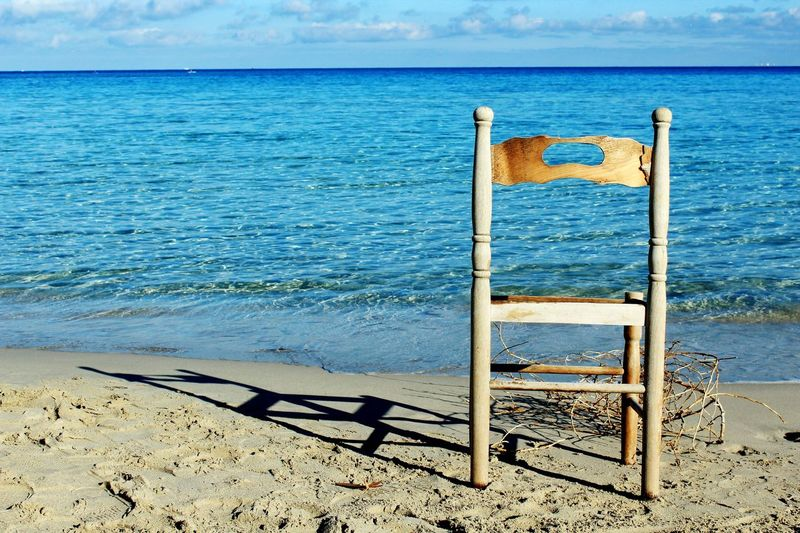 Sea Beach Water Sand Horizon Over Water Outdoors Nature Beauty In Nature Sky Mondello Chair Old Chair