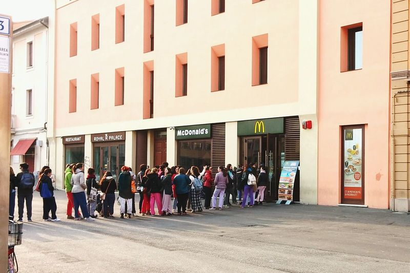 Standing in line with a pyjama to get 25 days of free breakfast. McDonald's Marketing Imlovinit