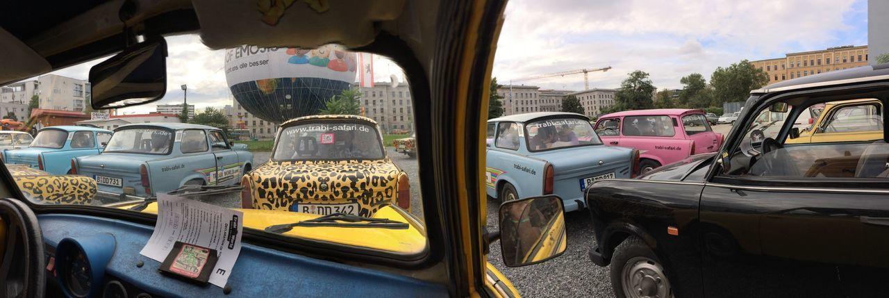 Panoramic view of car