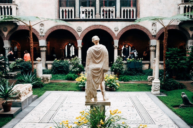 Isabella Stuart Gardner Museum Arch Architecture Art And Craft Building Exterior Built Structure Creativity Day History Human Representation Male Likeness No People Outdoors Sculpture Statue Tree