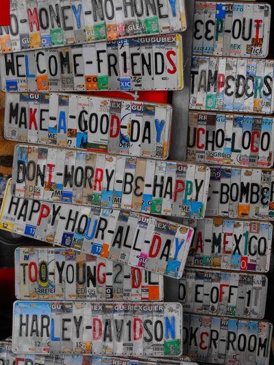 Arte creado con fragmentos de placas de autos (Art created with license plate fragments). Text Communication No People Best Eyeem Pics First Eyeem Photo Best Eyem Photo License Plates Cars