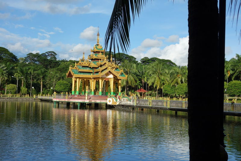 Kandawgyi Park Yangon Architecture Building Exterior Built Structure Cloud - Sky Day Kandawgyi Lake Myanmar Nature No People Outdoors Park Reflection Religion Sky Travel Destinations Tree Water