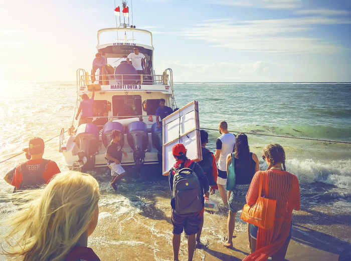 Bali, Indonesia Speed Boat Beach Beauty In Nature Boat To Nusa Penida Day Horizon Over Water Large Group Of People Lifestyles Men Nature Outdoors People Real People Rear View Sanur Beach Sea Sky Standing Sunlight Travel Destinations Vacations Water Wave Women