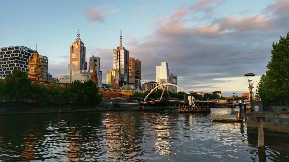 Melbourne City Skyline Australia City Building Victoria Yarra River Sunset Sunrise Urban Flindersstreet