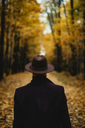 Rear view of man standing against trees in forest during autumn