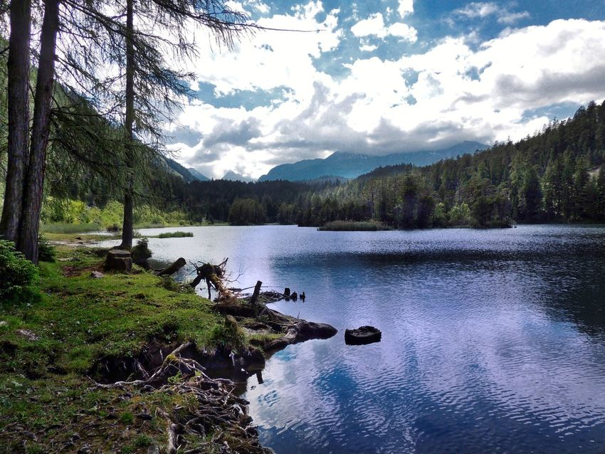 Bergsee // Mountain lake Nature Water Tree Beauty In Nature Sky Tranquility Scenics Lake Tranquil Scene Outdoors Growth No People Mountain Nautical Vessel Day Nature_collection Landscape_Collection EyeEm Best Shots Austria Bergsee Mountain Lake