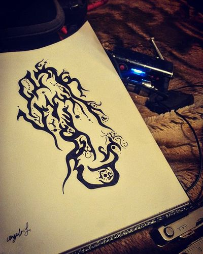 Uhmmmmm... idk InsomniART Whileiwait VapeLife Charging Trippy Abstract Designs Lines Interesting Artistic Black Pen