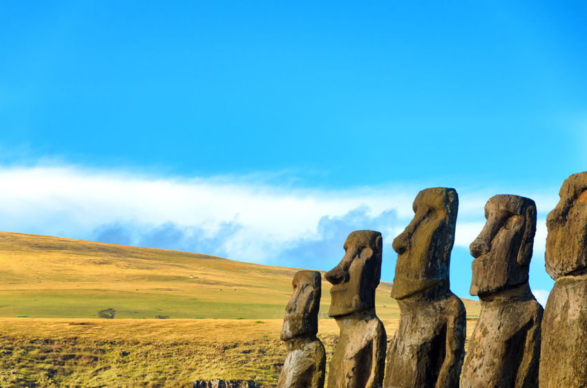 Row of Moai on Easter Island, Chile America Beach Chile Culture Easter Heritage Indigenous  Island Landscape Moai National Pacific Ocean Panoramic Park Polynesia Rapa Nui Sculture South Statue Stone Tongariki Tourism Travel UNESCO World Heritage Site World