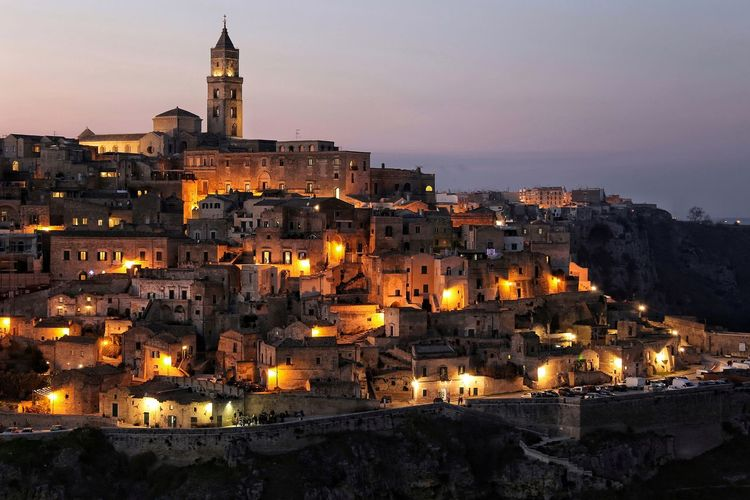 Sassi di Matera City Twilight Night Cityscape Urban Skyline Tower History Illuminated Clock Tower Architecture Outdoors Travel Destinations Long Exposure Night Lights Nightphotography No People City Architecture Cityscape Sunset Fresh On Market 2017 HUAWEI Photo Award: After Dark My Best Photo