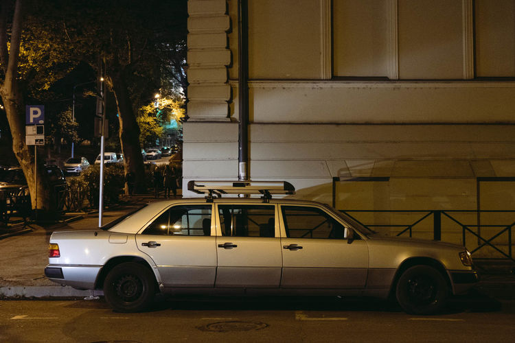 3 Doors Down Cars Georgia Mercedes Tbilisi Car City Illuminated Land Vehicle Mode Of Transportation Motor Vehicle No People Outdoors Parking Retro Styled Roof Rack Street Weir