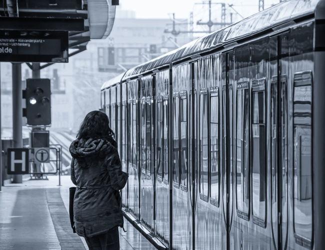 Woman On Railway Station Platform