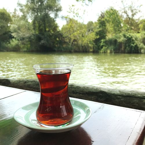 Turkishtea Drink Refreshment Food And Drink Tree Water Freshness Lake Plant Day Tea Hot Drink Glass Cup Nature