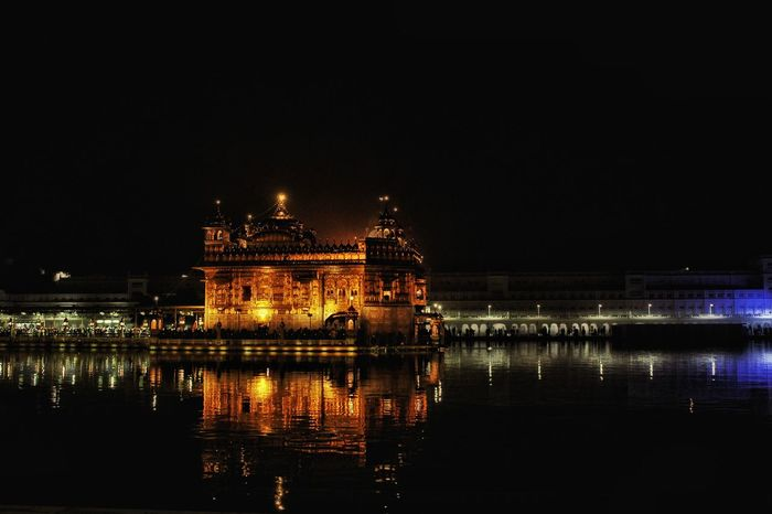 The Golden Temple Swarnamandir Night Architecture Travel Destinations Religious  Religious Architecture Reflections In The Water Reflections And Shadows Reflection Perfection  Refl