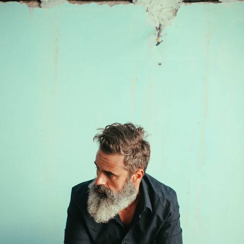 Redefining Menswear Beard Front View Men Headshot Portrait Casual Clothing Contemplation Mustache One Person Facial Hair Vintage Photo Tattoo Tattooed Adult Decaying Building British Culture