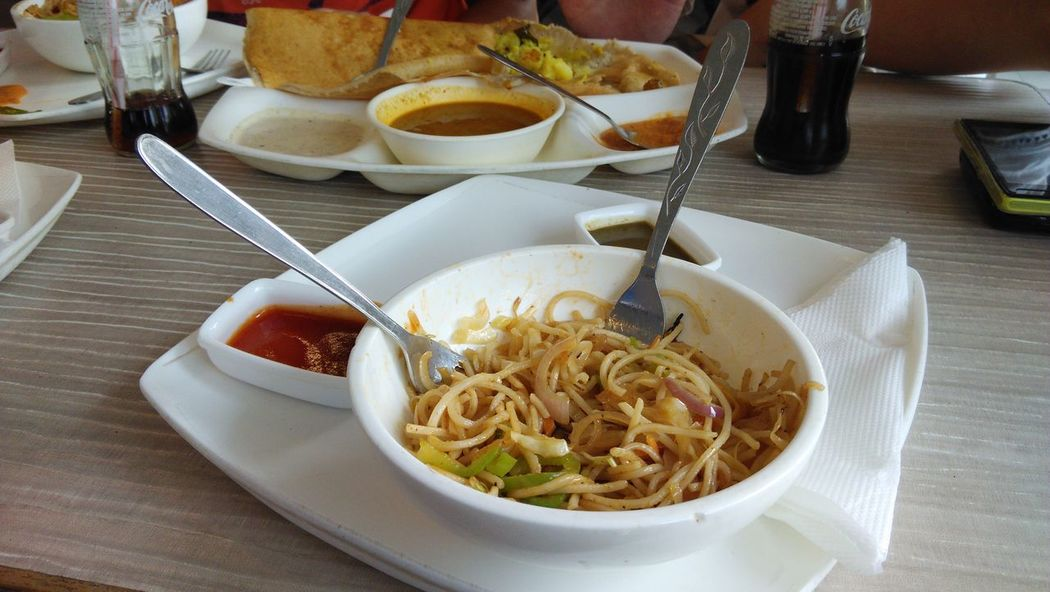 Bowl Ceraminc Chinese Food Chow Chutney Close-up Day Dosa Egg Yolk Food Food And Drink Food And Drink Fork Fork Freshness Healthy Eating Indoors  Italian Food No People Noodles Plate Ready-to-eat Sphagetti Spoon Table