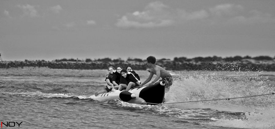 Banana Boat Blackandwhite Blackandwhite Photography EyeEm Black&white! Happy Holiday Inoy Landscape_photography Monochrome Outdoors Real People Relaxation Sea Seascape Weekend Activities