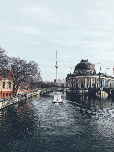 Waterfront Travel Destinations Water Building Exterior Architecture Sky City Outdoors Nature Berlin Museumsinsel Spree Boat River Bodemuseum Museum Fernsehturm Citylove Berlin Photography Berlin Mitte