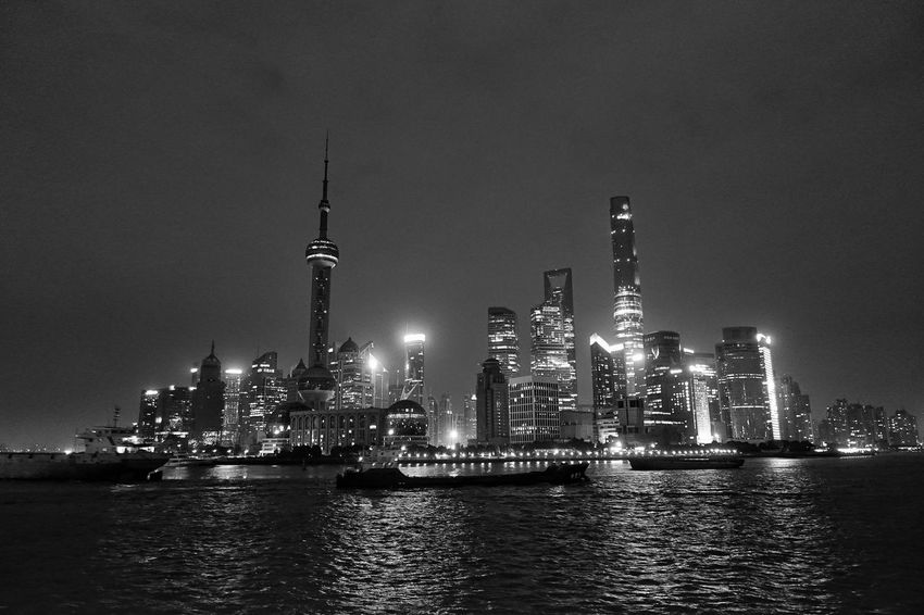 China Photos Midnight Night Lights Night Photography Night View Bnw Blackandwhite Landscape Building Architecture Landmark Shanghai Black And White Landscapes With WhiteWall Streamzoofamily The Architect - 2016 EyeEm Awards The Great Outdoors - 2016 EyeEm Awards The Street Photographer - 2016 EyeEm Awards