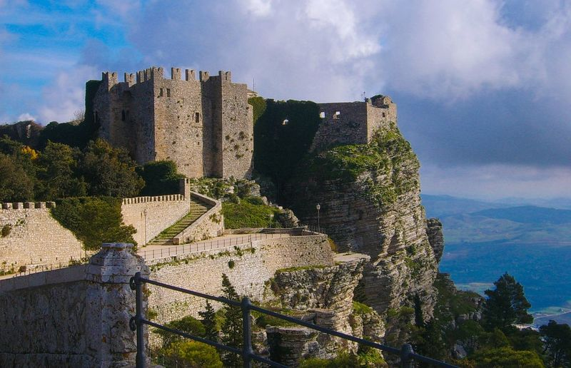 Beauty In Nature Outdoors Scenics Sky Castle Castello Di Venere Erice Landscape Architecture Trapani Backgrounds Landscape_Collection Panoramic View Built Structure Cloud - Sky Day Green Musk High Viewpoint Panorama Nature_collection Ancient Ancient Castle Sicily Travel Been There.
