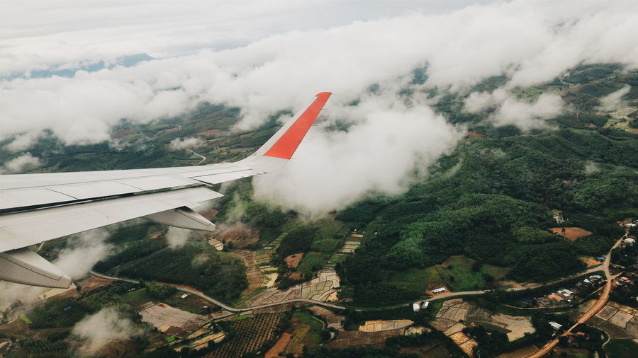 Airplane Landscape Thailand View ASIA Asian  Thai Thailand Cloud - Sky Rain Travel Destinations Farmer Field Land Land Airshow Air Vehicle Airplane Tree Sky Aircraft Wing Airplane Wing Aerial View Flying Flight My Best Travel Photo