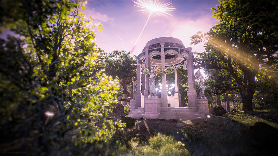 UE4 CGI Forest Nature Unrealengine Rendering Gazebo Tree Pixelated Fountain