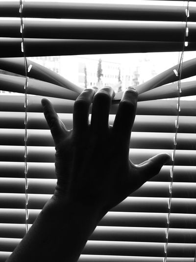 Close-up of hand touching window