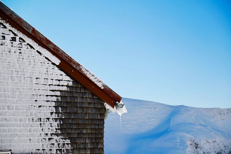 Nebelhorn House Idyllic Snow Covered Mountain Top Vacations Tranquil Scene Mountain Architecture Sky Built Structure Clear Sky Nature Building Exterior Day Scenics - Nature Snow Travel Travel Destinations Environment Building Low Angle View Copy Space No People Winter Cold Temperature Outdoors Blue