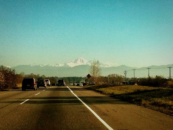 Volcano Mountain Mountains Open Road Skyline Horizon Snowcapped Mountain Highway Travel Traveling On The Road WestCoast Blue Sky Civilization Empty Places Empty Road Road Stories Road Trip Travel Photography Man Vs Nature Rural Landscape Country Life Country Roads Empty Roads On The Move