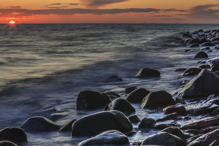 Baltic Sea Kalmar Sund Sweden Beach Beauty In Nature Byxelkrok Cloud - Sky Flowing Water Horizon Over Water Idyllic Nature No People Outdoors Power In Nature Rock Rock - Object Rocky Coastline Scenics - Nature Sea Sky Sunset Water Wave Öland