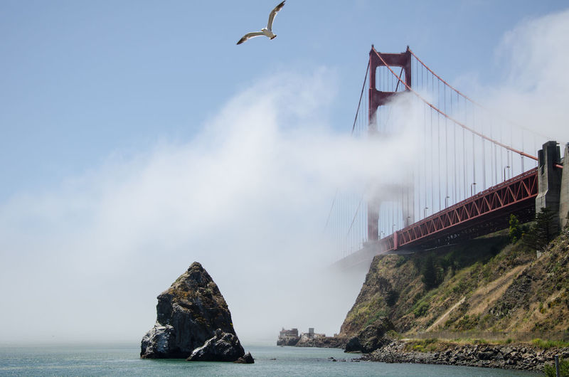 Panoramic view of bridge over sea against sky