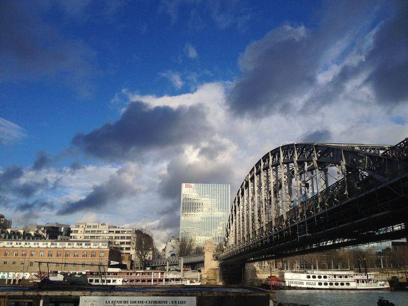 Travel Metal Bridge Reflection River Sena River Transportation River Paris City Modern Sky Day Cityscape No People Travel Destinations Cloud - Sky