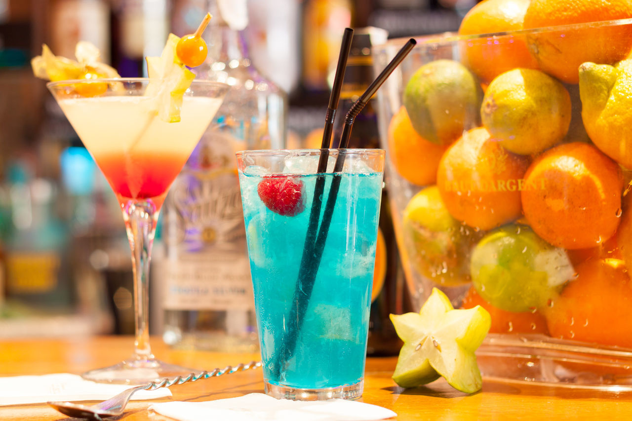 food and drink, freshness, fruit, table, drink, drinking glass, indoors, close-up, no people, healthy eating, multi colored, food, day