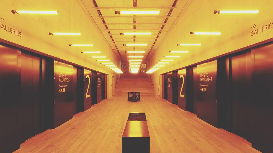 Interior of illuminated empty room