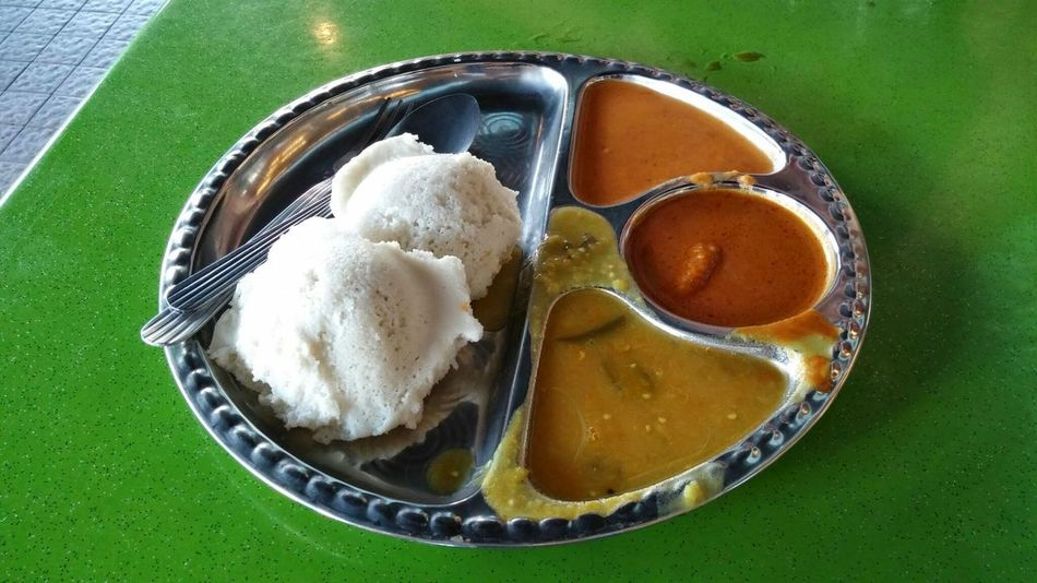 Malaysian Food Malaysia Kuala Lumpur Food And Drink Freshness Food High Angle View Close-up Ready-to-eat Day No People Table Idly Dosa Dosai Curry Breakfast Benches Casual Hotday