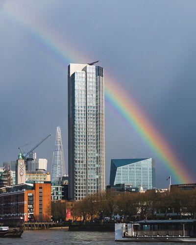 Rainbow on the Thames Architecture LONDON❤ City Urban Taking Photos Urbanphotography Cityscapes Rainbow