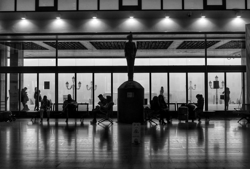 Streetphotography Fog Street Statue Station Silhouette Blackandwhite Black And White Black & White Illuminated Gym Sport Exercising Politics And Government Architecture